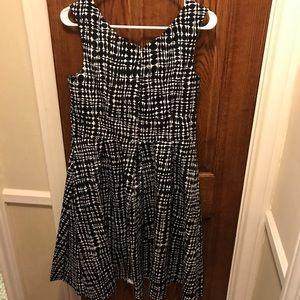 Black and white geometric pattern cocktail dress